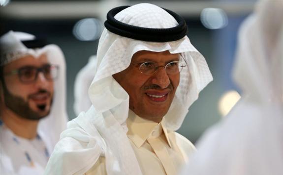 Saudi Arabia's new Energy Minister, Prince Abdulaziz bin Salman takes a tour at an exhibition during the 24th World Energy Congress in Abu Dhabi, United Arab Emirates September 9, 2019. REUTERS/Satish Kumar