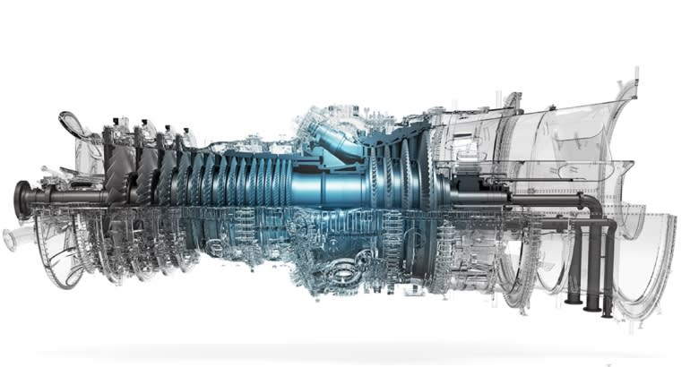 An image of a hydrogen gas turbine developed by Mitsubishi Hitachi Power Systems.