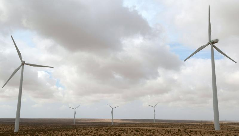 Energy with potential. Wind turbines at a wind farm in the southwestern Moroccan city of Tarfaya . (AFP)