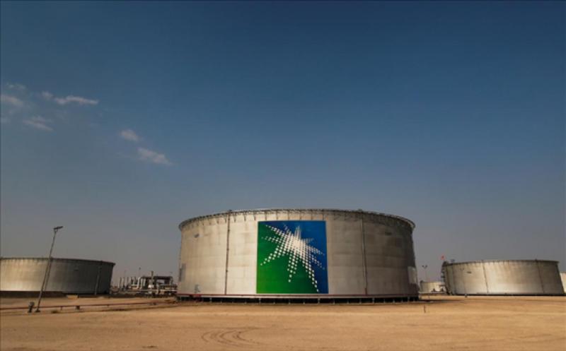 FILE PHOTO: A view shows branded oil tanks at Saudi Aramco oil facility in Abqaiq, Saudi Arabia