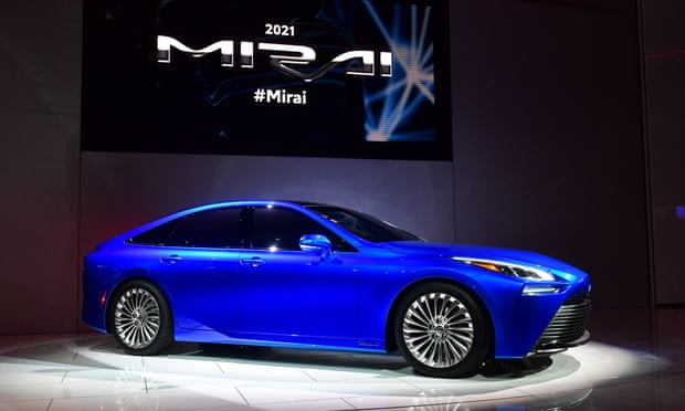 The Toyota Mirai, a hydrogen fuel cell electric vehicle. Photograph: Frederic J Brown/AFP via Getty Images