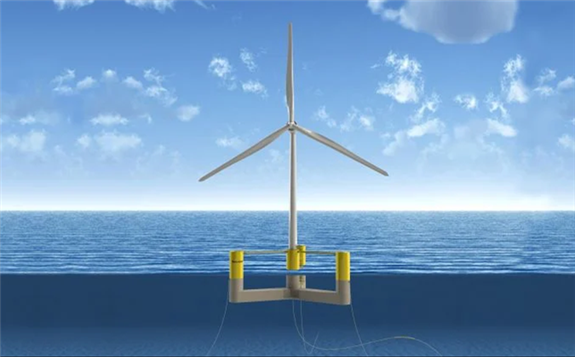 A rendering of UMaine's semisubmersible concrete floating platform that will hold a 10 to 12 MW turbine.
