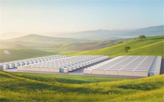 Artist render of Tesla Megapack battery energy storage systems. Image: Tesla.