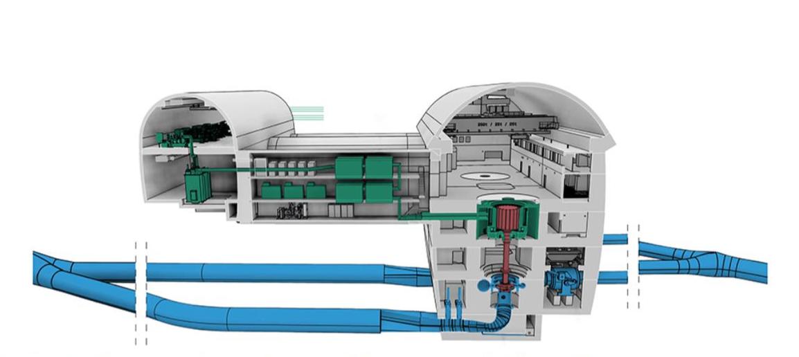 3D-artwork of the new underground pumped storage power plant Kühtai 2
