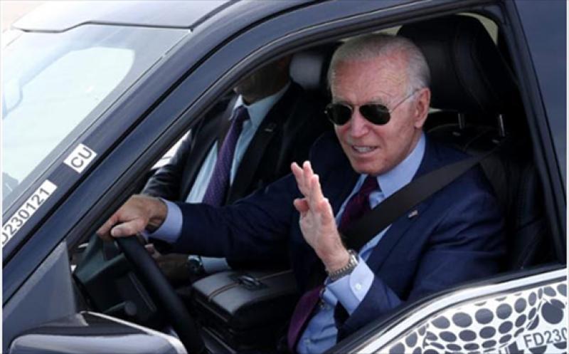 U.S. President Joe Biden test-drives the Ford F-150 Lightning on June 18.