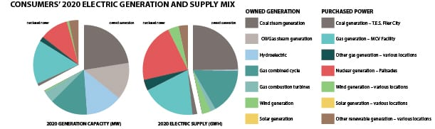 In 2020, Consumers Energy owned a total 5,350 MW of generation, which produced a total 14,983 GWh. Additionally, it purchased 2,577 MW, resources that generated a total 16,982 GWh. Source: POWER/Consumers Energy