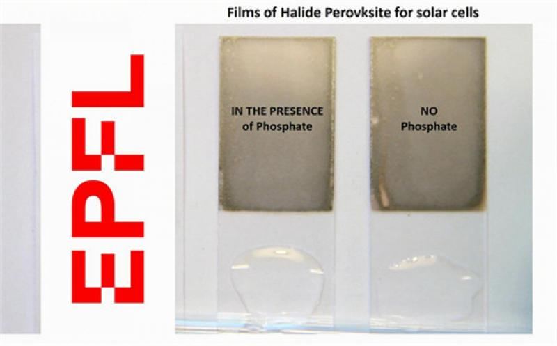 IMAGE: A TRANSPARENT PHOSPHATE CRYSTAL, WHICH INCORPORATED INTO SOLAR CELLS, CAN INSTANTANEOUSLY IMMOBILIZE THE LEAD IN CASE OF FAILURE AND BLOCK ITS LEACHING OUT FROM THE DEVICE