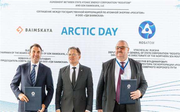 L-R: Oleg Novachuk, GDK Baimskaya LLC's chairman, Alexey Likhachov, Rosatom director general, and Vyacheslav Ruksha, Rosatom deputy director general and director of the Northern Sea Route Directorate (Image: Rosatom)