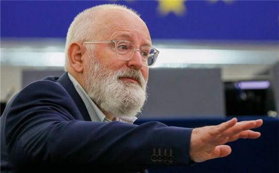 Frans Timmermans speaks at the European Parliament in Strasbourg, on Sept. 14. Photographer: Julien Warnan/AFP/Getty Images